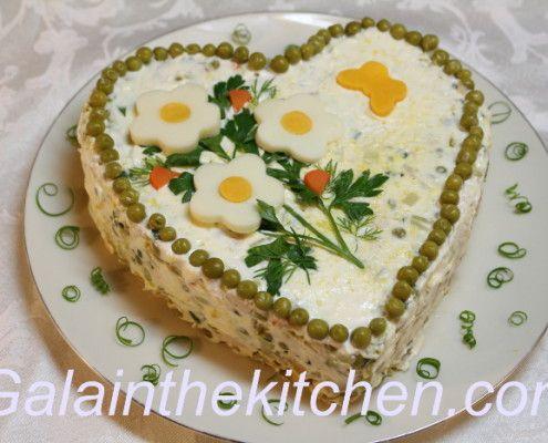 Garnish Green Onion Curls Russian Olivier Salad Photo