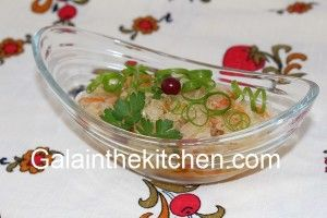 Photo Green Onion Curls Russian Sauerkraut with Granberries and Carrot
