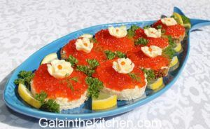 Russian Caviar Serving with Butter Photo