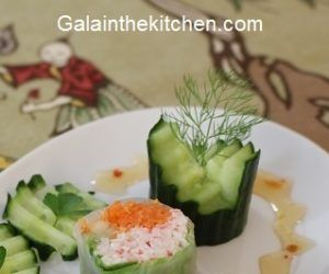 Sushi Garnish with Cucumber Photo