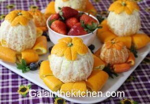 Photo Fancy Serving Orange. Fruit Platter. Photo