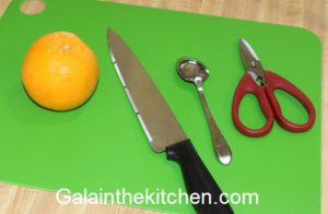 Tools to Make garnish from Orange. Photo