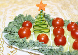 Christmas tree from cucumber on vegetable tray
