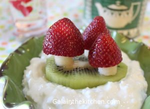 Strawberry Garnish on cottage cheese Photo