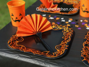 photo halloween napkin folded in shape of fan