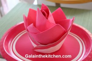 Photo Paper Napkins Folded In Flower Pink