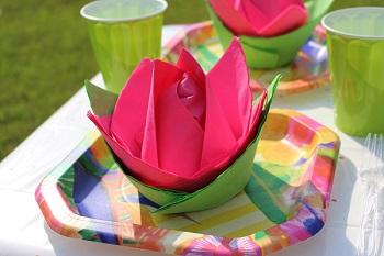 Photo Paper napkin flower