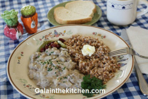 Photo Russian chicken liver with onion and buckwheat